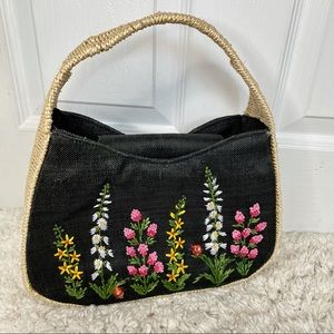 Cottage Core Floral Embroidery Wicker Basket Purse